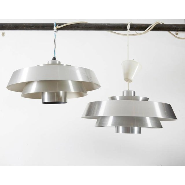 Danish Aluminum Pendent Lamp by Jo Hammerborg, Pair - Image 7 of 8