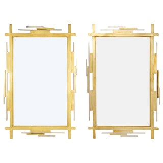 Paul Evans Style Brass Chrome Mirrors- A Pair