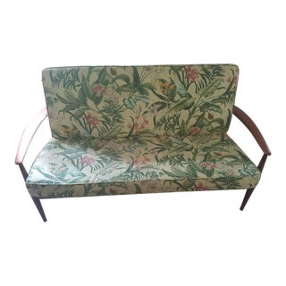 1960's France and Sons Danish Teak & Sunbrella Upholstered Loveseat