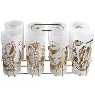 Eight Georges Briard Fruit Glasses With Caddy
