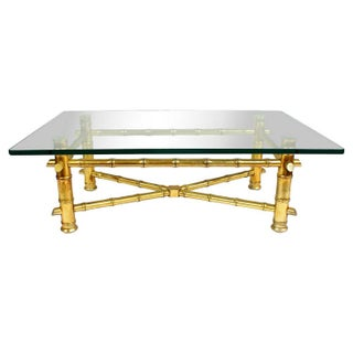 Gold Gilt Faux Bamboo Cocktail Table