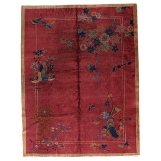 1920s Antique Art Deco Chinese Rug - 8′10″ × 11′8″