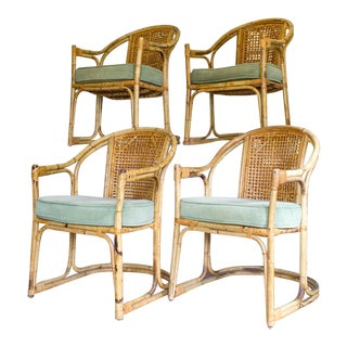 Bentwood Bamboo and Cane Cantilever Patio or Dining Chairs