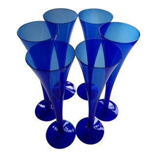 Cobalt Blue Champagne Flutes / Glasses - Set of 6