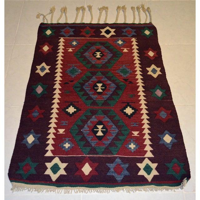 Hand-Woven Turkish Flatweave Rug - 2′7″ × 3′7″ - Image 5 of 9