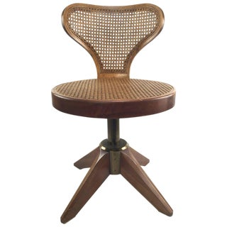 Mid-Century Modern Caned Swivel Chair on Splayed Legs