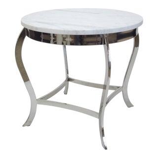 Marble Top Nickel Side Table