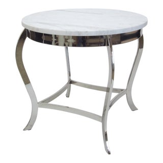 Marble Top Nickel Side Table