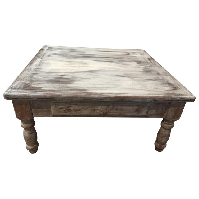 Large Distressed Wood Coffee Table: Distressed Solid Oak Square Coffee Table