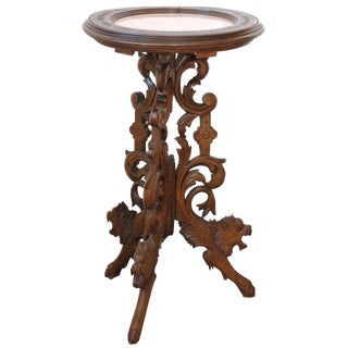 Carved Table with Marble Inset Top