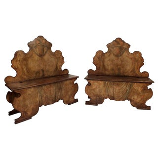 Vintage Italian Benches with Storage - A Pair