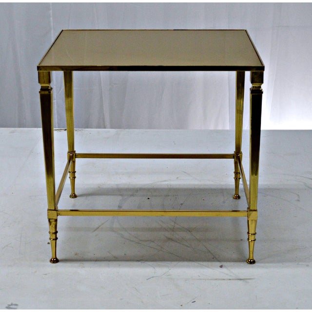 Neoclassical Brass & Glass Auxiliary Side Table - Image 9 of 10