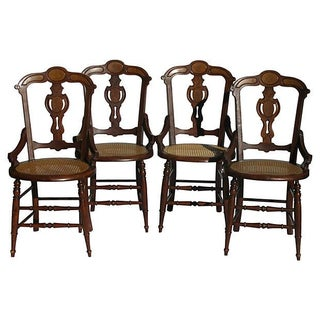 French Art Nouveau Style Chairs W/Cane Seats - S/4