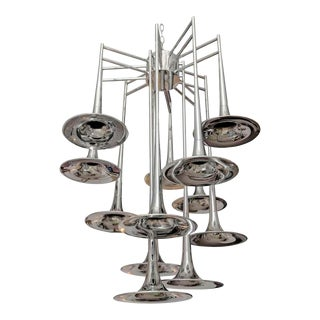 Vintage chrome Trumpet Chandelier by Reggiani, Italy