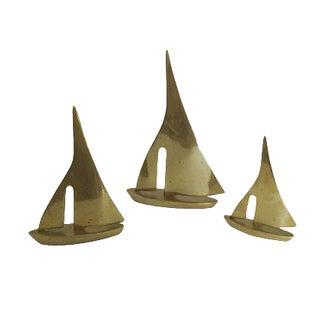 Vintage Brass Sailboat Figurine - Set of 3