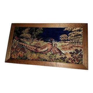 Vintage Pheasant Framed Rug Wall Art