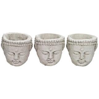 Cast Concrete Buddha Planters - Set of 3