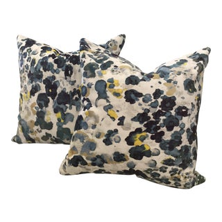 "Romo Niumi Blue Floral Velvet Pillows 20"" - a Pair"