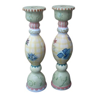 Stonehouse Farm Goods Hand Painted Candlesticks - a Pair