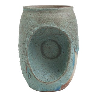 Indented Blue Ceramic Vase