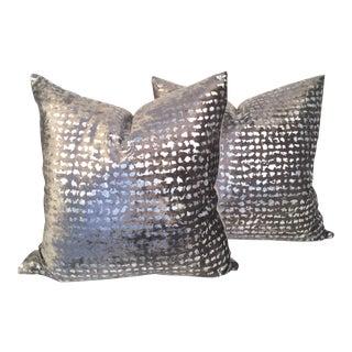Silver Metallic Embossed Velvet Pillows - A Pair
