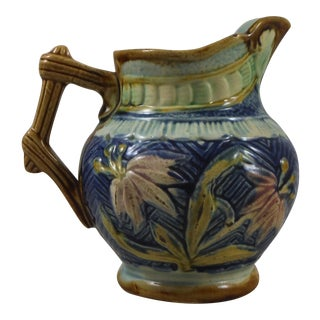Antique Majolica Flowers Pitcher