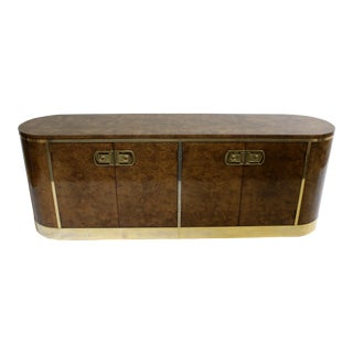 Mid-Century Modern Mastercraft Burl Wood and Brass Credenza