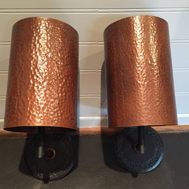 Hammered Copper Wall Sconces : Hammered Copper Sconces - A Pair Chairish