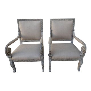 1900's Carved Italian Armchairs - A Pair
