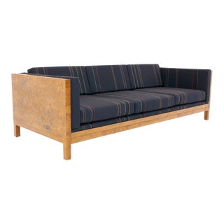 Milo Baughman Burl Wood Case Sofa Reupholstered in Paul Smith Fabric for Maharam