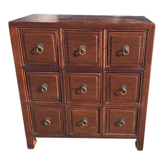 Chinese Style Teak 9 Drawer Apothecary Chest
