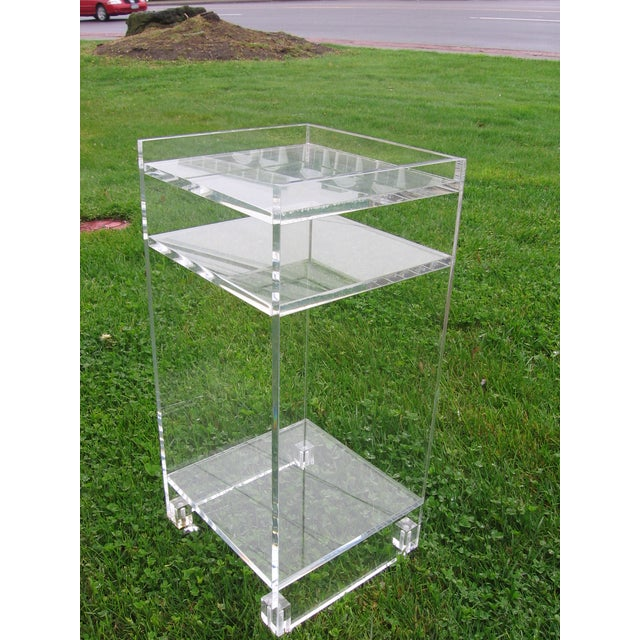 Lucite Side Table On Wheels