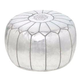 Moroccan Silver Metallic Embroidered Leather Pouf Ottoman
