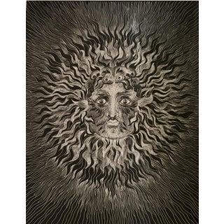 Sascha Brastoff Modernist Silver Foil Sunburst Print