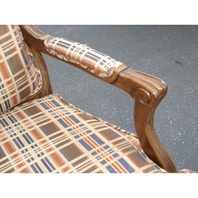 Vintage French Country Carved Wood Brown Orange Plaid Chairs - A Pair - Image 9 of 10