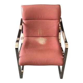 Solid Chrome and Salmon Leather Chair