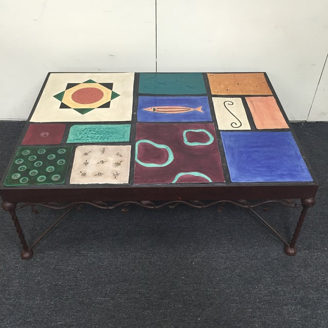 Image of Wrought Iron Mosaic Tabletop Coffee Table