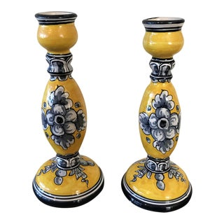 Handcrafted Candleholders Yellow & Black - A Pair