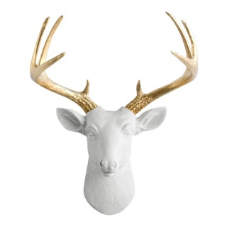 White & Gold Faux Mini Deer Head Bust by Wall Charmers
