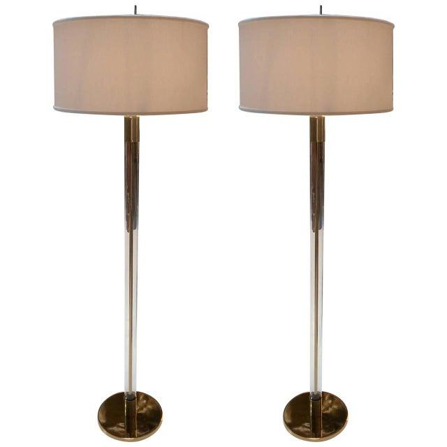 Hansen Lighting Co.Style Glass & Brass Floor Lamps - Image 1 of 6