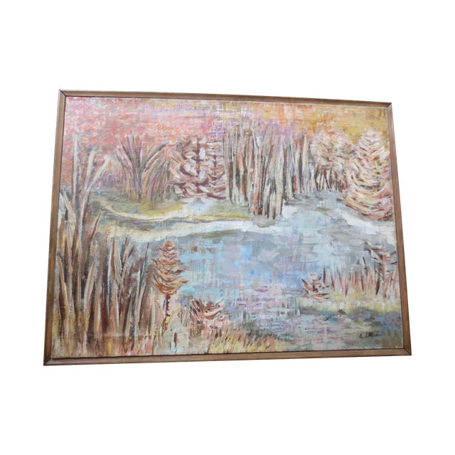 1950s Fall Landscape Painting, Signed Ellias - Image 1 of 7