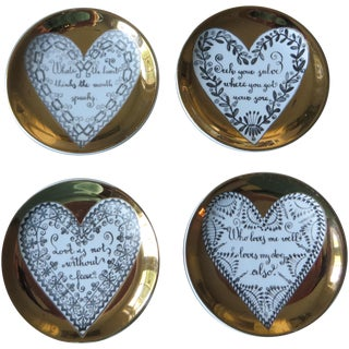 Rare Fornasetti 1960s Love Plates - Set of 4