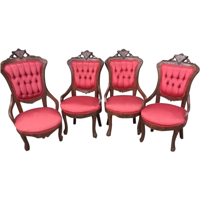 Image of Victorian Eastlake Parlor Chairs - Set of 4
