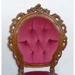 Image of Ornate French Carved Tufted Back Chairs - Pair