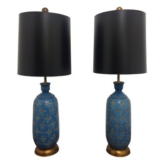 Italian Ceramic Marbro Lamps - A Pair