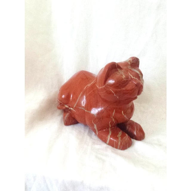 Image of Mid-Century Chinese Red Carved Jasper Cat