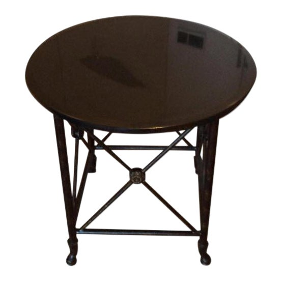 Black Granite Top Accent Table - Image 1 of 5