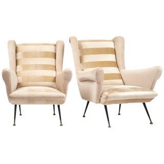 Italian Mid-Century Modern Striped Velvet Armchairs- A Pair