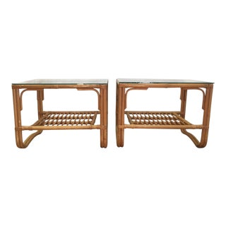 Vintage Bamboo Rattan End Tables - A Pair