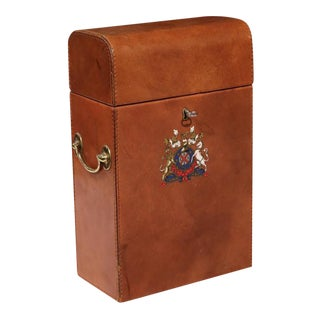 Early 20th Century French Leather Wine Bottle Storage Case with Engraved Crest